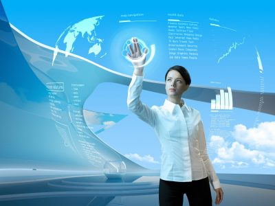Attractive brunette with interface in futuristic interior (outstanding business people in interiors / interfaces series)